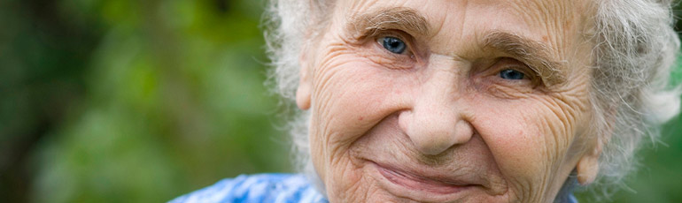 elderly mother smiling