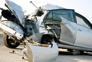 a vehicle with rear end accident damage