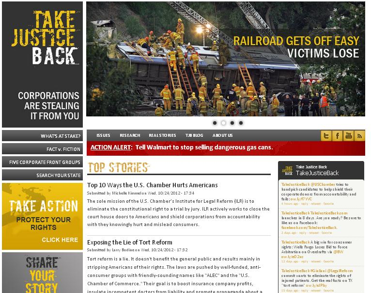 Screenshot of Take Justice Back Website