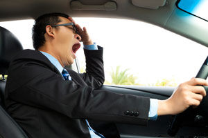 a driver becoming victim to fatigue