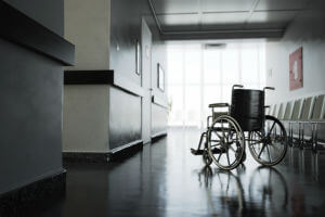wheelchair in dark hallway